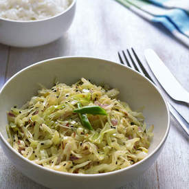 Stir fried cabbage with whole spices