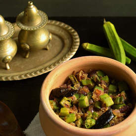 Okra cooked with dessicated coconut