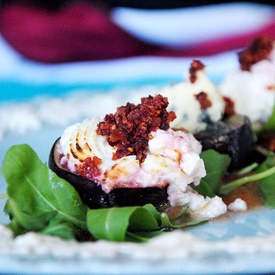Cheesy Figs With Pear And Fig Puree
