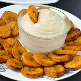 Baked plantain with a coconut cashew dip