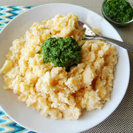 Rutabaga Mash with Kale Pesto
