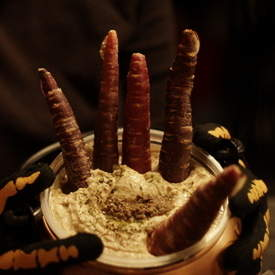 Creepy Carrot Hand Hummus