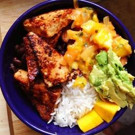 Caribbean Coconut Rice with Tofu, Mango, Plantains