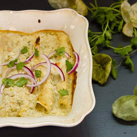 Tuna Enchiladas with Tomatillo-Green Chile Cream