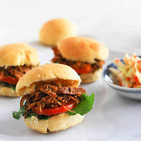 Caribbean Pulled Chicken Mini Burgers