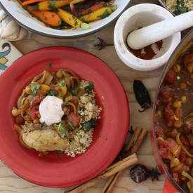 Moroccan Chicken, Chickpea, and Apricot Tajine