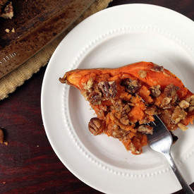 Twice Baked Sweet Potatoes with Pecan Crumble
