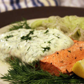 Poached Salmon with Creamy Dill Mustard Sauce